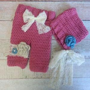 Pixie bonnet and pant set with lace..
